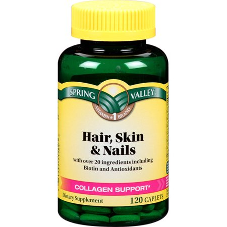 Spring Valley Hair, Skin & Nails Plus Biotin Caplets, 3000 ...