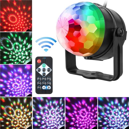 Party Lights, EEEkit Sound Activated Disco Ball Strobe Light 7 Lighting Color with Remote Control for Bar Club Birthday Party DJ Karaoke Xmas Wedding Show and Outdoor](Disco Ball Party)