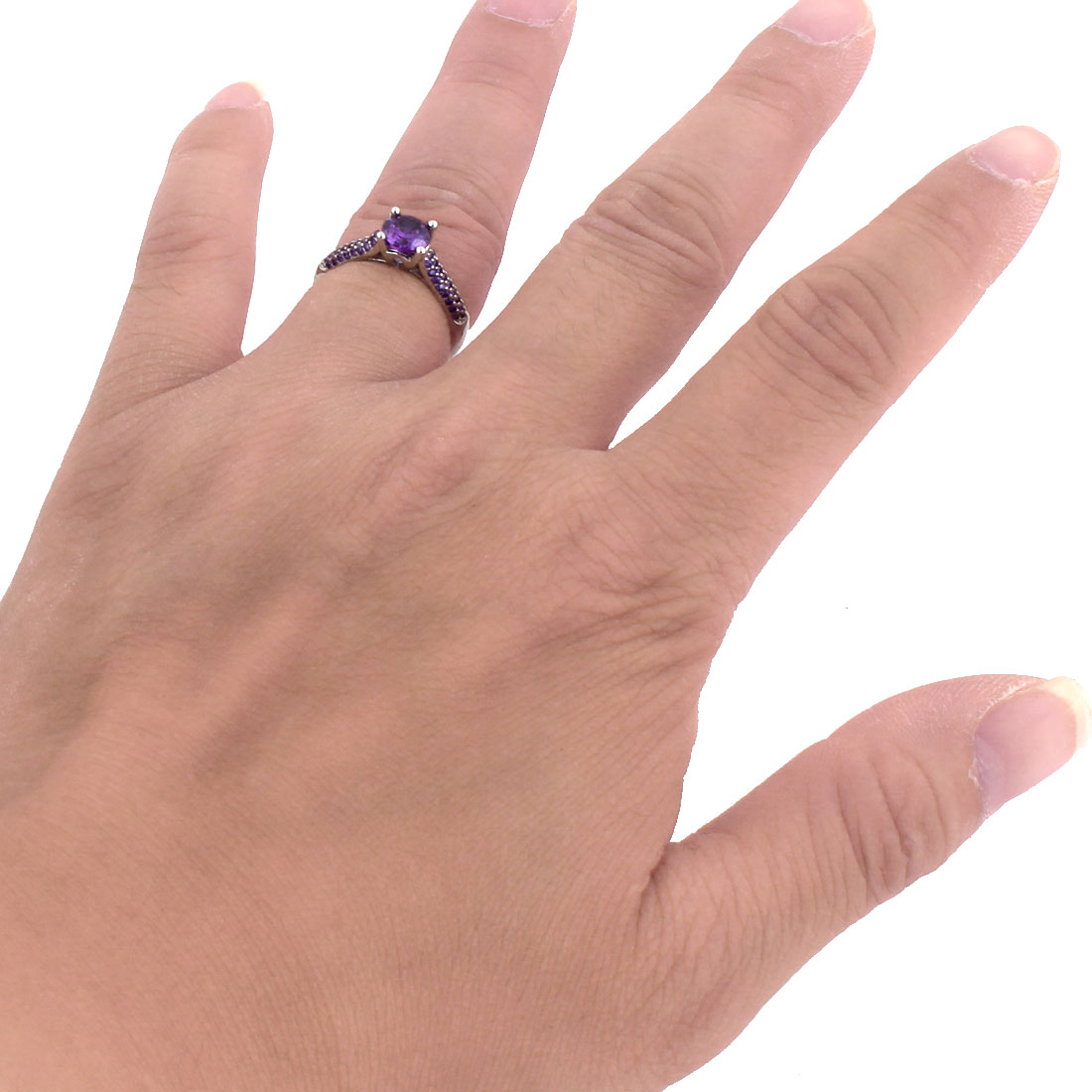 Woman Ladies Metal Faux Rhinestone Inlaid Finger Ring Silver Tone Purple US 7 - image 2 of 3