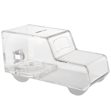 MCB  Ambulance / Truck Shaped Acrylic Charity Donation Box , Collection Box - Tip Container (Clear)