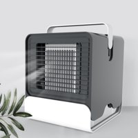 Mini Portable Air Conditioner Fan USB Desktop Air Cooler Office Dormitory Cooling Mobile Fan with LED Lights Black, White (optional)