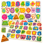 Quokka Wooden Jigsaw Puzzles Games for Toddlers 2 3 4 5 Years Old, Wood Learning ABC Alphabet Shapes for Kids Ages 4-8, Preschool Educational Toys for Boys and Girls