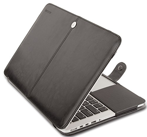 Mosiso MacBook Pro 15 Case, Premium PU Leather Folio Sleeve Cover with Stand Function for Macbook Pro 15.4 Inch with Retina Display (No CD-ROM Drive) Models: A1398, Black
