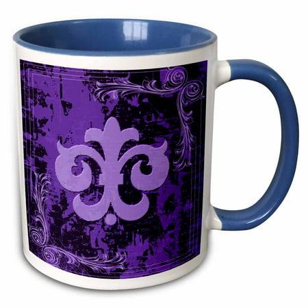 3dRose Purple Fleur De Lis On A Grunge Background - Two Tone Blue Mug, 11-ounce Blue Enamel Fleur De Lis