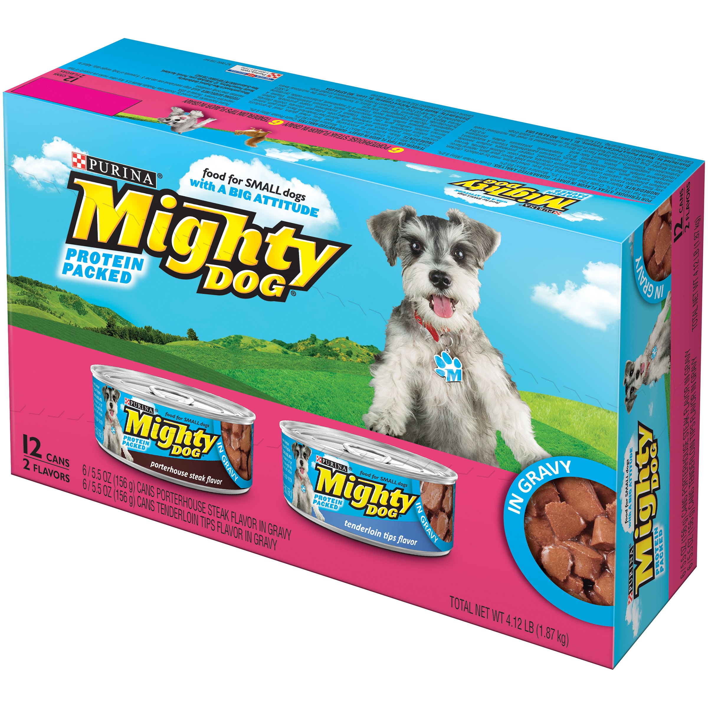 Purina Mighty Dog Dog Food in Gravy Wet Dog Food Variety Pack, 5.5 oz, Case of 12