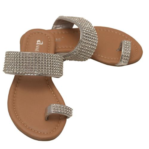 Anne Marie Girls Silver Rhinestone Adorned Thong Slipper Sandals 13 Kids