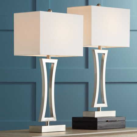 . 360 Lighting Modern Table Lamps Set of 2 Brushed Steel Off White  Rectangular Shade for Living Room Family Bedroom Bedside Office