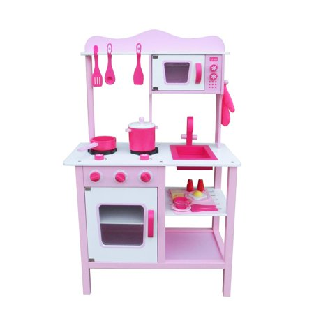 Ktaxon Wooden Kitchen Toy Pretend Kids Children Role Play Set for Girl Cooking Food Playset Pink