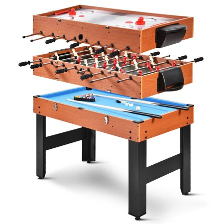 Costway 48'' 3-In-1 Multi Combo Game Table Foosball Soccer Billiards Pool Hockey For Kids ()