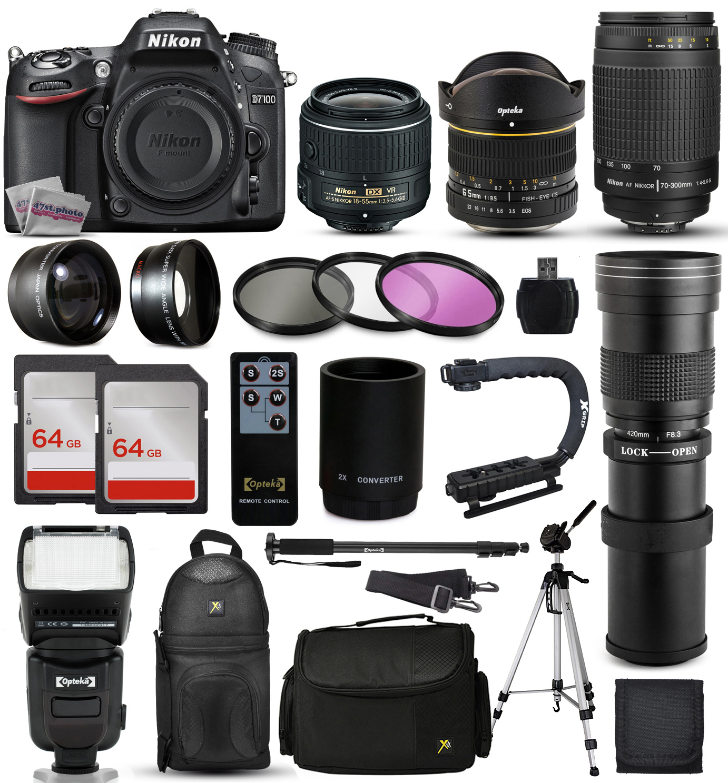 "Nikon D7100 DSLR Digital Camera + 18-55mm VR II + 6.5mm Fisheye + 55-300mm VR + 420-1600mm Lens + Filters + 128GB Memory + Action Stabilizer + i-TTL Autofocus Flash + Backpack + Case + 70"" Tripod"