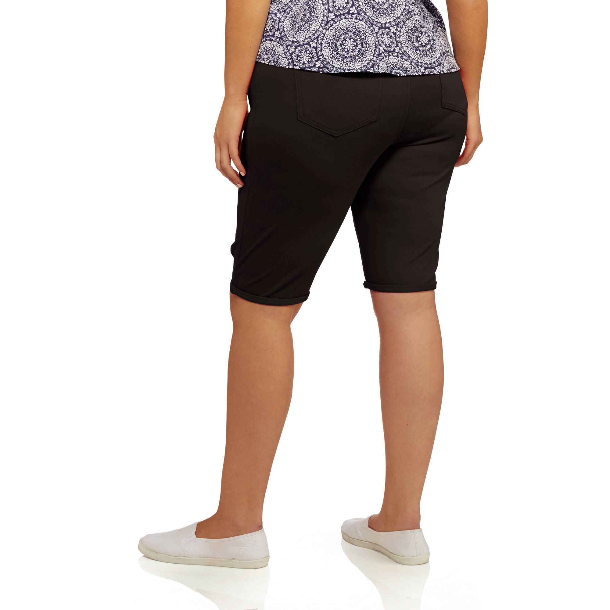 21ea0227bd5 Faded Glory - Women s Plus-Size Knit Jegging Bermuda Shorts - Walmart.com