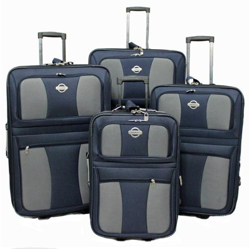 Coronado 4-piece Expandable Rolling Upright Luggage Set Navy