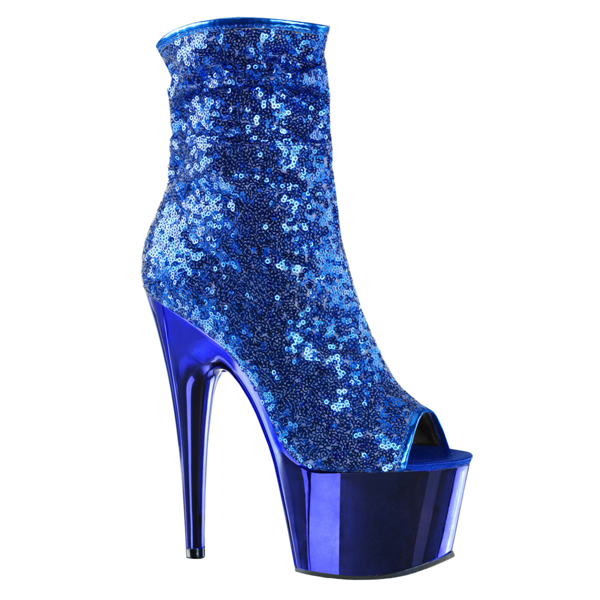 Womens Blue Ankle Boots Peep Toe Shoes Platforms Sequin Booties 7 Inch Heels