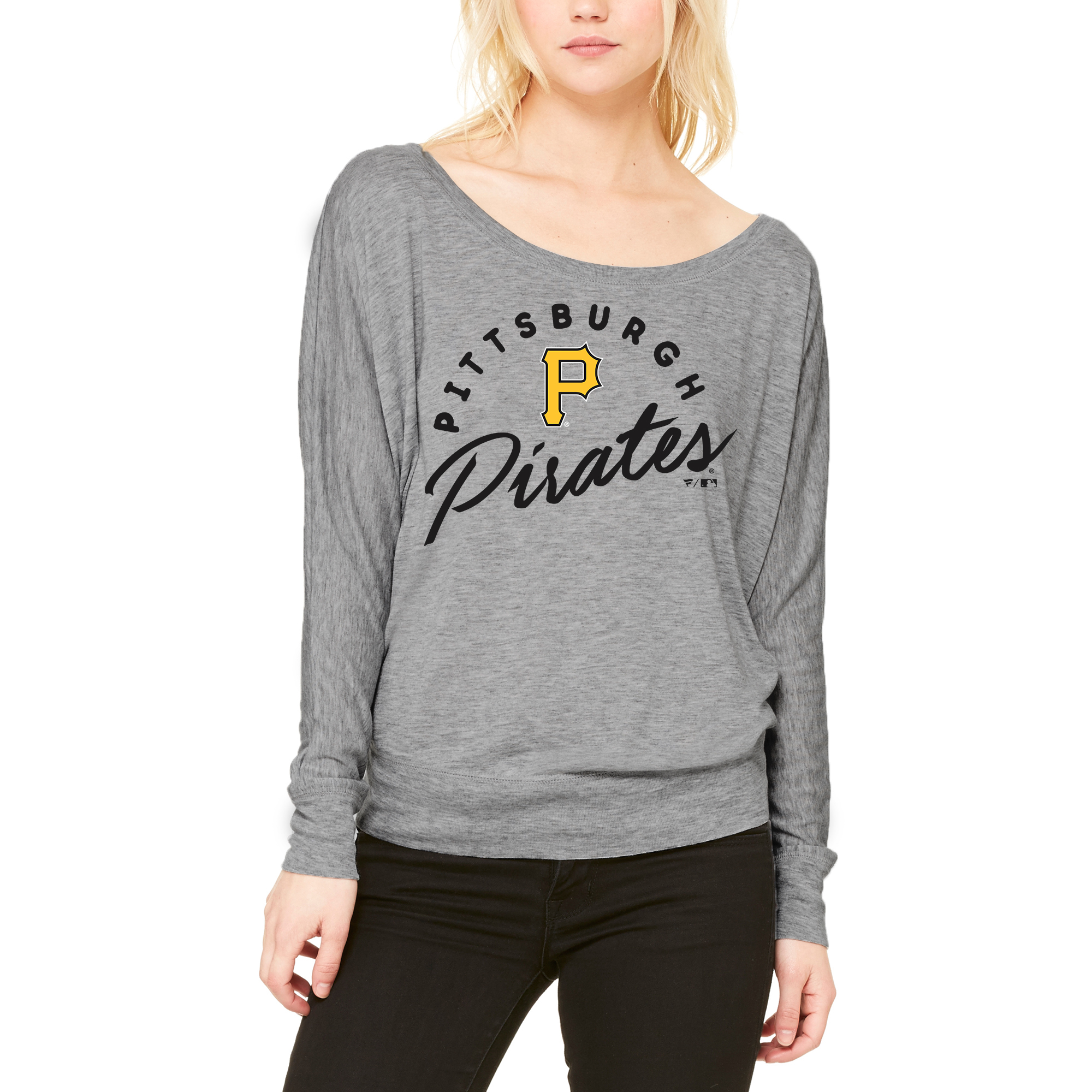 Pittsburgh Pirates Let Loose by RNL Women's Arch Flow Long Sleeve T-Shirt - Heathered Gray