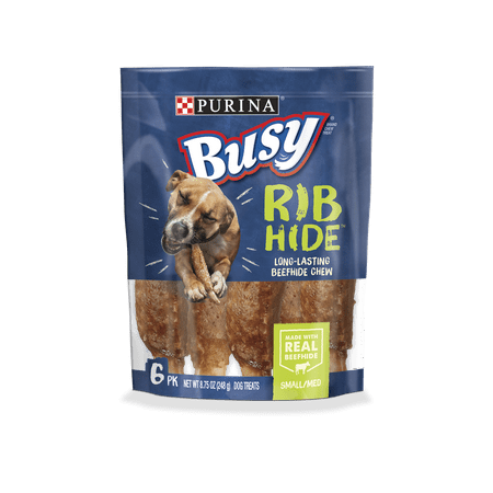 Purina Busy Small/Medium Breed Dog Rawhide Treat; Rib Hide - 6 ct. (Hide Seat)