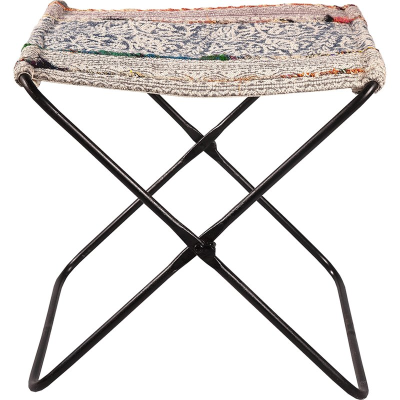 Renwil Serika Folding Foot Stool In Black And Ivory