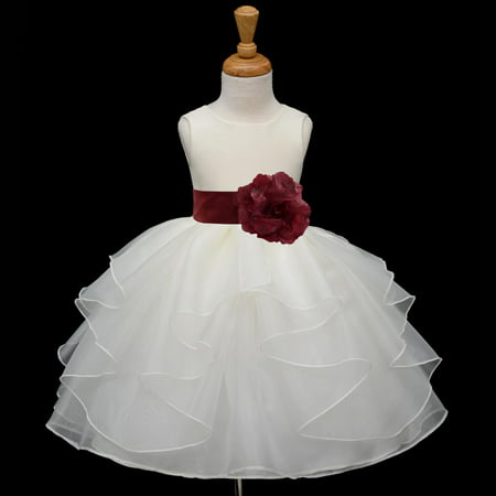 Ekidsbridal Shimmering Organza Ivory Flower Girl Dress Weddings Layers Handmade Summer Easter Dress Special Occasions Pageant Toddler Girl's Clothing Holiday Bridal Baptism 4613S Burgundy 12-18