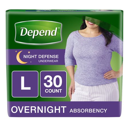 Depend Night Defense Incontinence Overnight Underwear for Women, L, 30 Ct