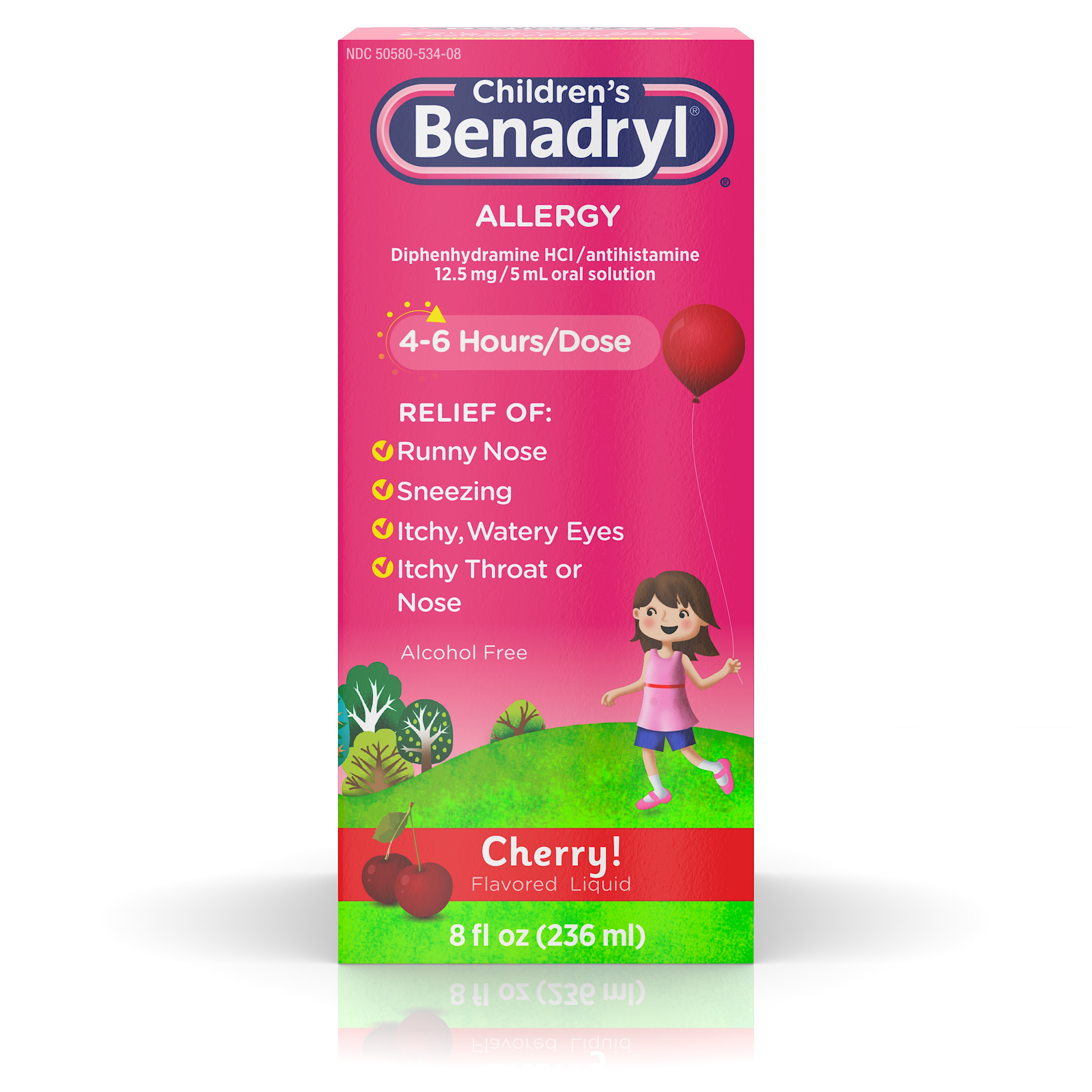 Children's Benadryl Antihistamine Allergy Liquid, Cherry, 8 fl. oz
