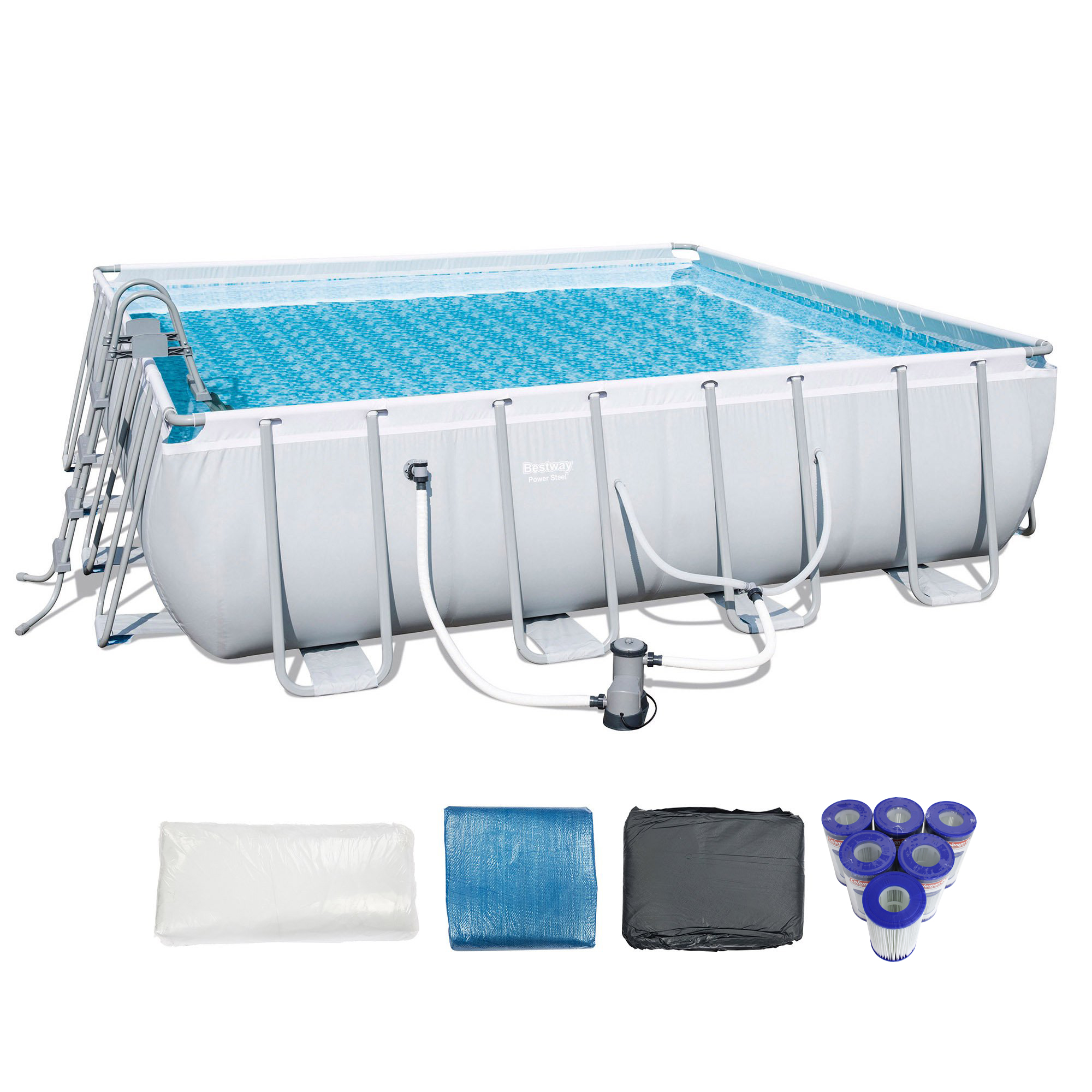 "Bestway 16' x 48"" Power Steel Frame Above Ground Pool Set + 6 Coleman Cartridge"