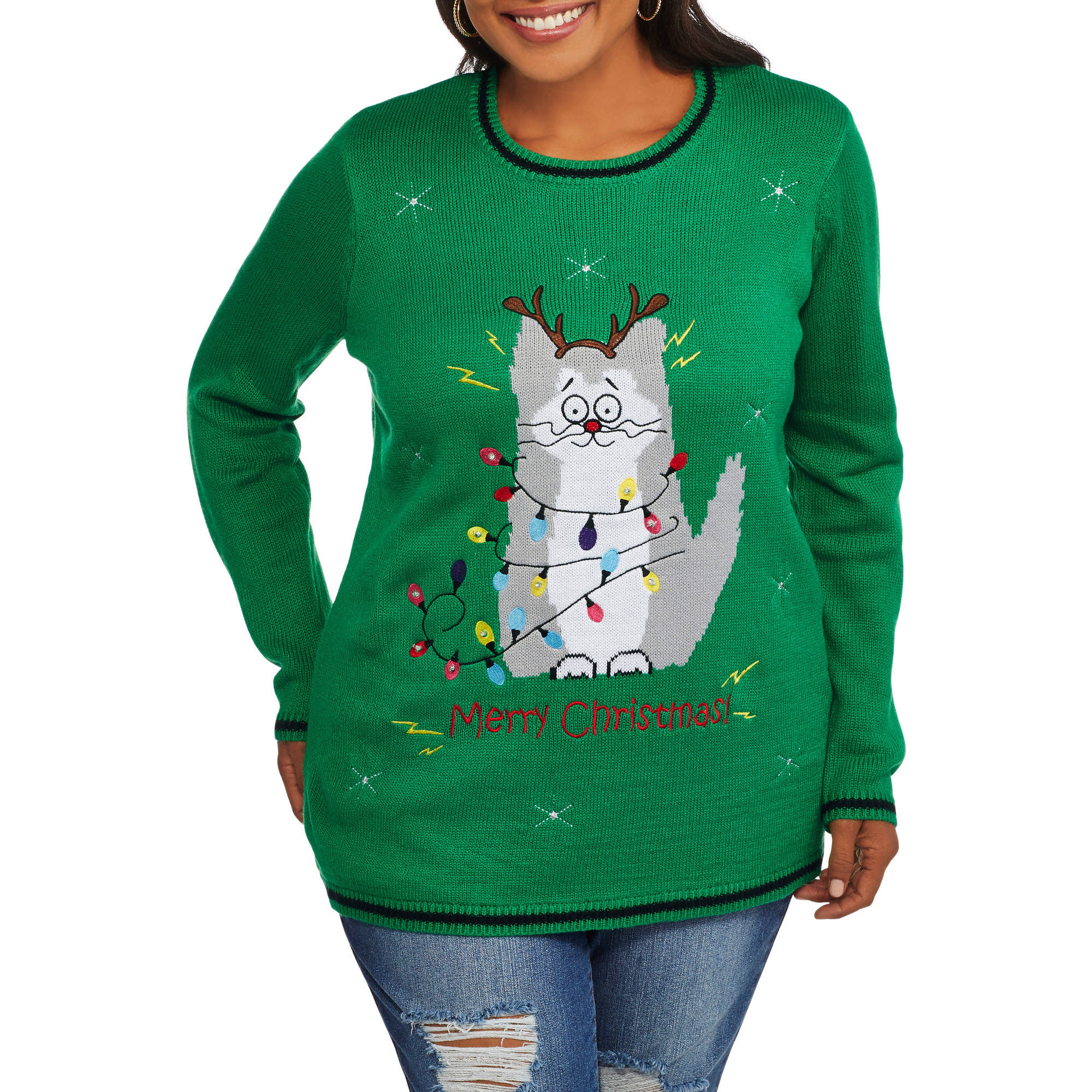 holiday time womens plus christmas sweater with lights light up kitty walmartcom - Lighted Christmas Sweaters
