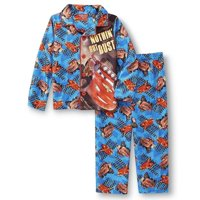 Boys' Licensed 2 Piece Poly Button Front Pajama Sleepwear Set, Cars, Size: 4T
