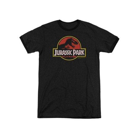 Jurassic Park Dinosaur Thriller Movie Classic Logo Adult Ringer T-Shirt