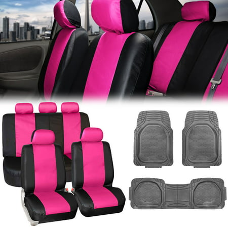 Fh Group Pink Black Pu Leather Seat Covers For Auto W