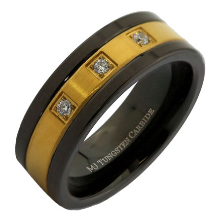8mm Tungsten Carbide Gold Plated 3 CZs with Stainless Steel Center Wedding Band - Cts Center