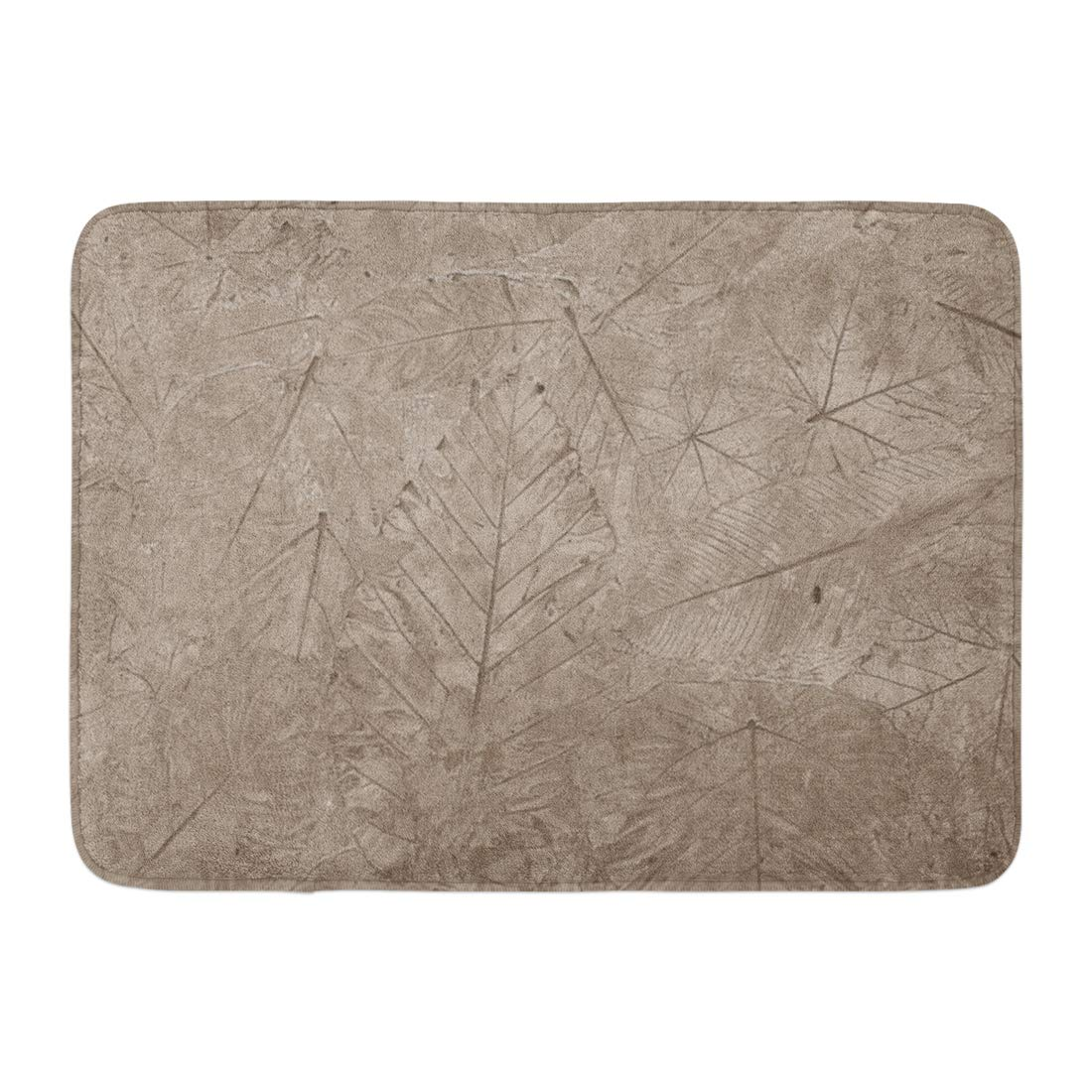 GODPOK Metal Brown Floral Leaves on Cement Ground Leaf Bronze Rug Doormat Bath Mat 23.6x15.7 inch