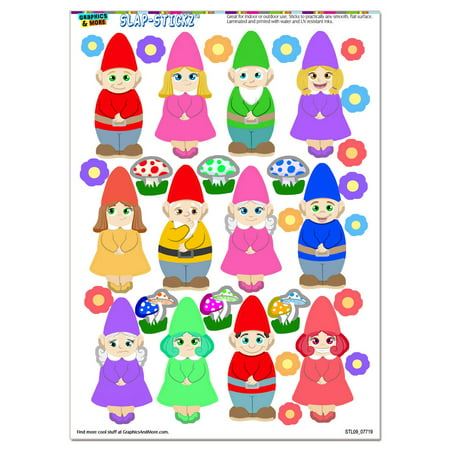 - Cute Gnomes - Lawn Fantasy Funny SLAP-STICKZ(TM) Premium Sticker Sheet