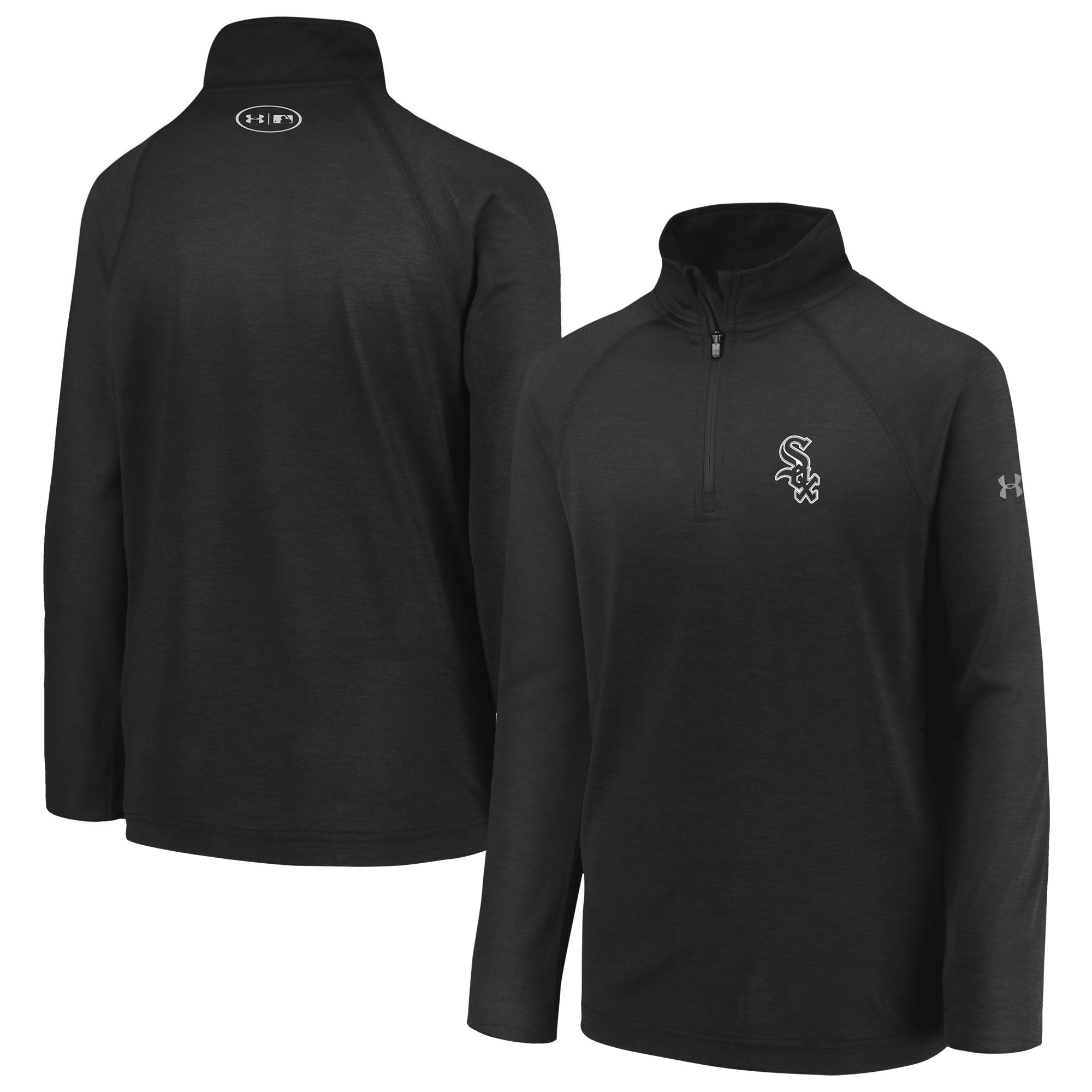 Chicago White Sox Under Armour Youth LC Logo Performance Quarter-Zip Pullover Jacket - Black