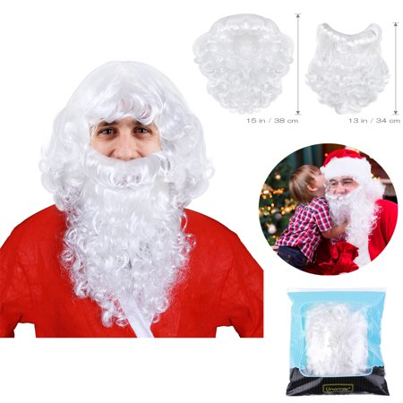 UNOMOR Santa Claus Wig And Beard Set For Adult Christmas Santa Cosplay Beard And Wig Set Fancy Dress (Best Cosplay Wig Stores)