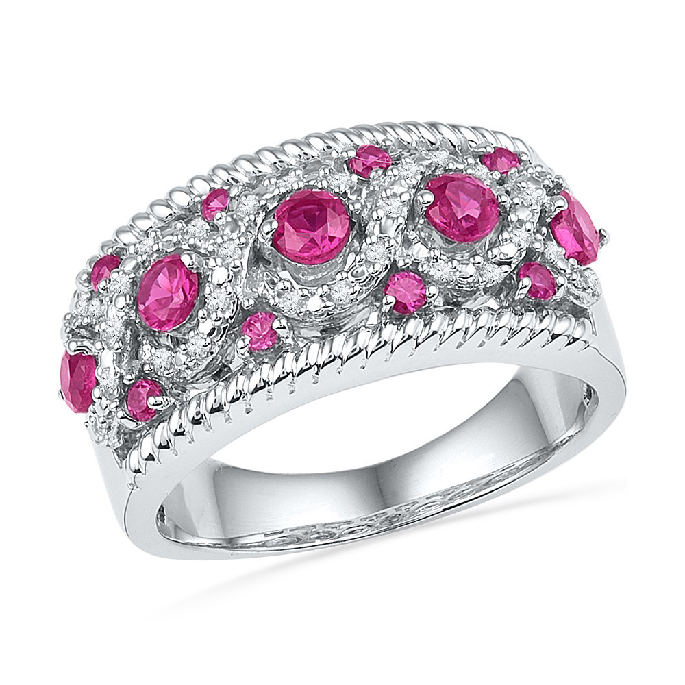 1/10Ctw Diamond 1 Ct-Dialab Created Pink Sapphire Ring White-Gold 10K