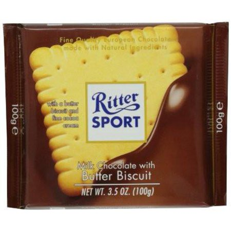 Ritter Sport Milk Chocolate with Butter Biscuit, 100g