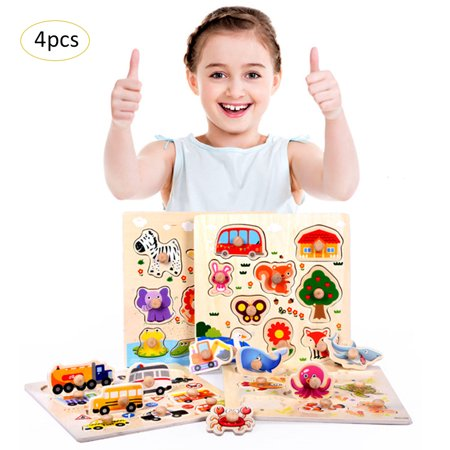 Children's Puzzles Toys Animal Cognition Early Educational Puzzles Wooden Elbow Board Toys 4PCS For 0-3-6 Years Old