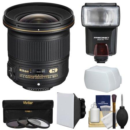 Nikon 20mm f/1.8G AF-S ED Nikkor Lens with Flash + 3 Filters + Softbox + Diffuser Kit for D3200, D3300, D5300, D5500, D7100, D7200, D750, D810 Cameras