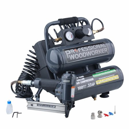 Professional Woodworker Brad Nailer Twin Stack Compressor Combo (Porter Cable Nail Gun And Compressor Kit)