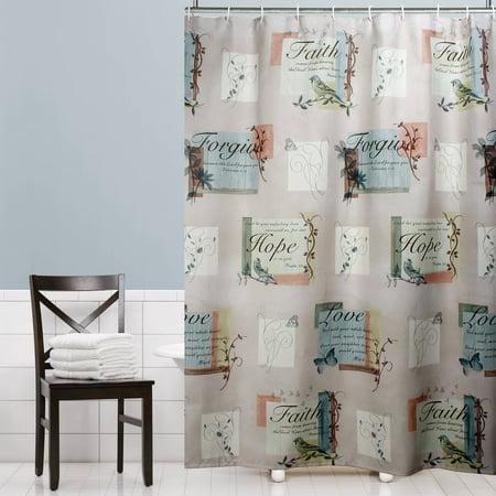 Mainstays 70u0022 x 72u0022 Hopeful Fabric Shower Curtain, 1 Each