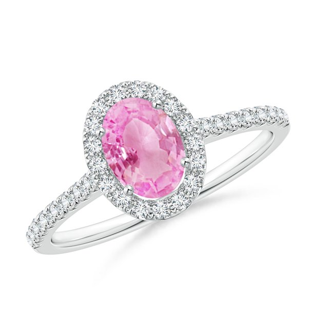 September Birthstone Ring - Oval Pink Sapphire Halo Ring with Diamond Accents in 14K White Gold (7x5mm Pink Sapphire) - SR0955PS-WG-A-7x5-11