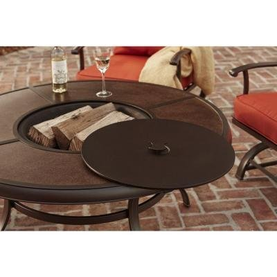 Redwood Valley 5 Piece Patio Seating Set With Fire Pit And Quarry Red  Cushions