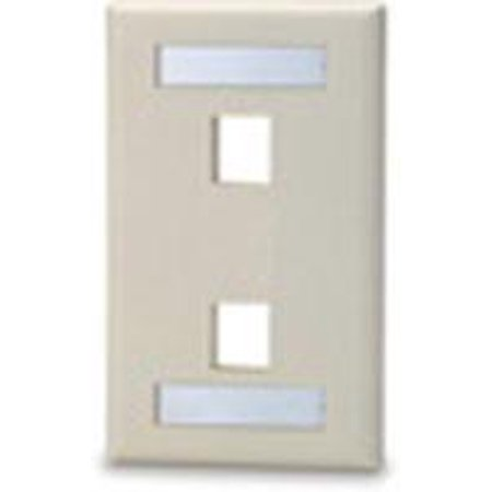 2 port Single Gang Keystone Faceplate w/ Labeling Windows, Mfr SIGNAMAX