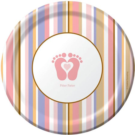 Tiny Toms Pink (Baby Shower 'Tiny Toes Pink' Small Paper Plates)