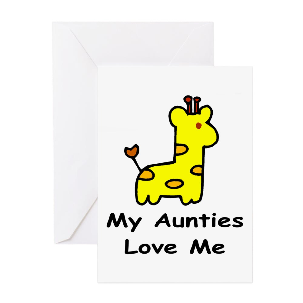 CafePress - My Aunties Love Me Greeting Cards - Greeting Card, Blank Inside Glossy