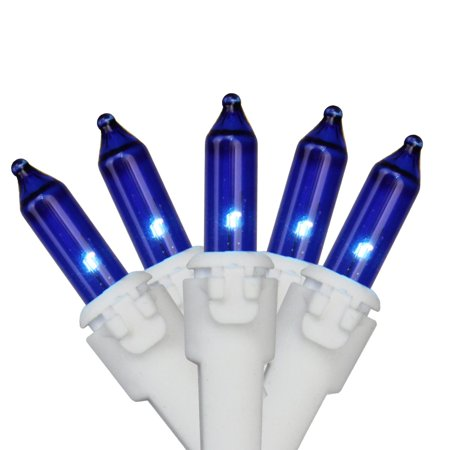 Set of 35 Blue Mini Christmas Lights 2.5 Spacing - White Wire