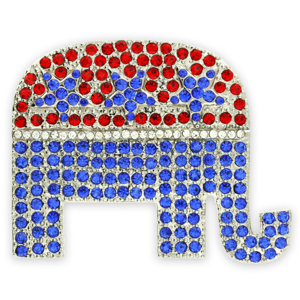 PinMart's Rhinestone Republican Party Elephant Political Brooch Lapel Pin by PinMart