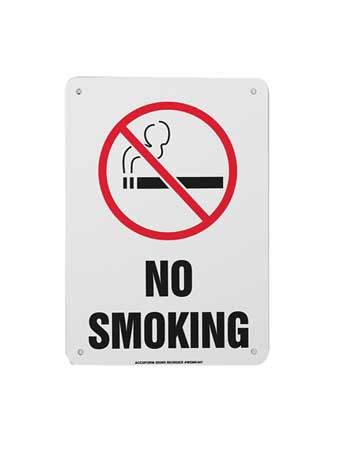 ACCUFORM SIGNS MSMK407VP No Smoking Sign, 10 x 7In, R and BK WHT by ACCUFORM