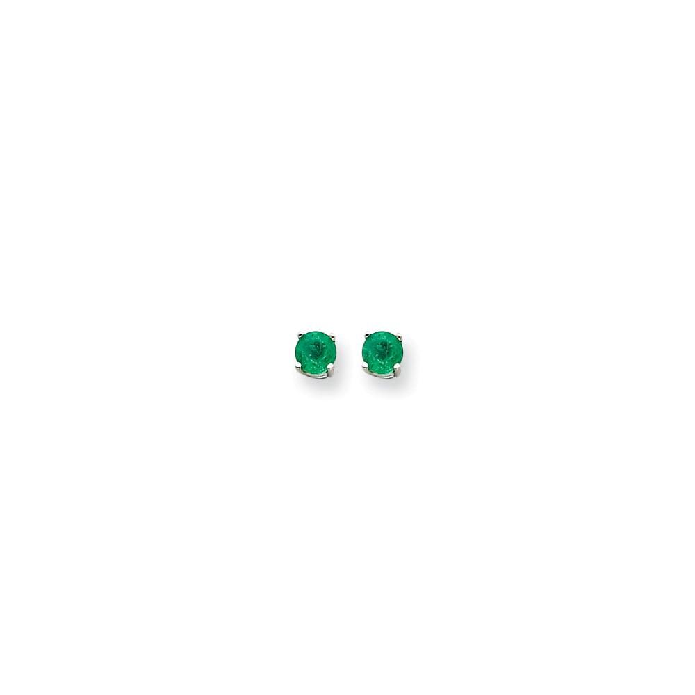 14k White Gold Emerald Post Back Stud Earrings. Gem Wt- 0.98ct (5MM)