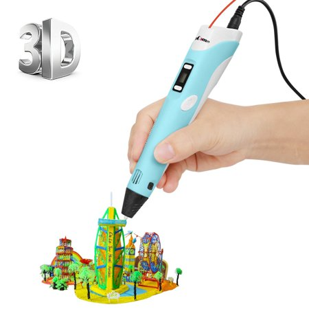 3D Printing Pen, 3D Pen v.2 with LCD, for Doodling, Art & Craft Making, 3D Modeling and Education, Comes with Stencil Printout & 30 Grams 1.75mm ABS Filament (Blue)