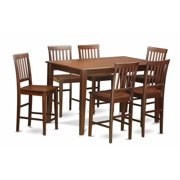East West Furniture DUVN7H-MAH-W 7 Piece Gathering Table Set- Pub Table and 6 Bar Stools
